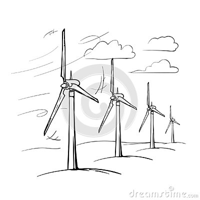Free Wind Farm Is A Series Of Wind Generators Set In The Area To Provide People With Renewable Green Energy. Royalty Free Stock Images - 130241079