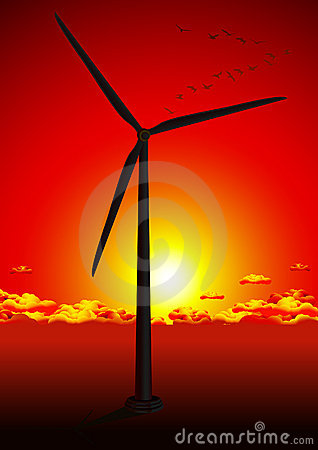 Wind farm in red sunset