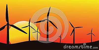 Wind farm silhouette