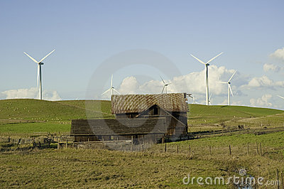 Wind generator and dilapidated barn