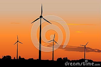 Wind generators in sunrise