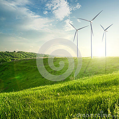 Free Wind Generators Turbines On Sunset Summer Landscape Stock Images - 38072424