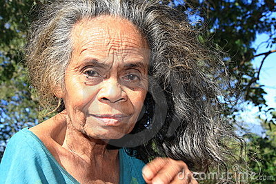 Indonesian old woman with grey hair from Timor  Editorial Image