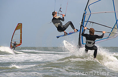 Wind and Kite Surfers Editorial Image