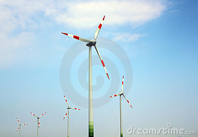 Wind mills against the sky
