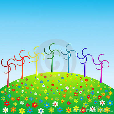 Wind mills in rainbow colors, eco concept