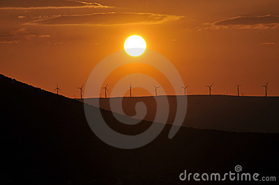 WIND MILLS AT SUNSET