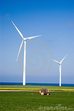 Free Wind Power And Tractor. Stock Photography - 2432382