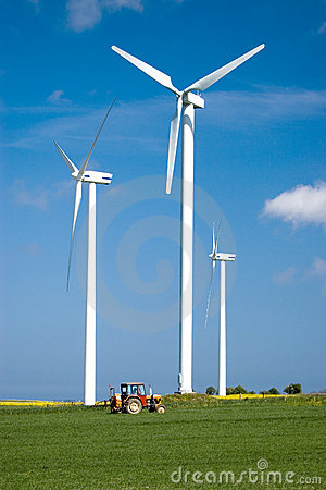 Free Wind Power And Tractor. Stock Images - 2432414