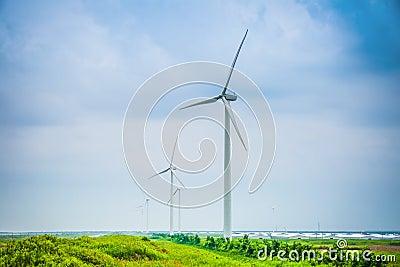 Wind power farm in cloudy