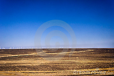 Wind power plant in desert