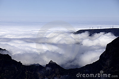 Wind power plants above clouds