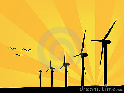 Wind power plants in summer