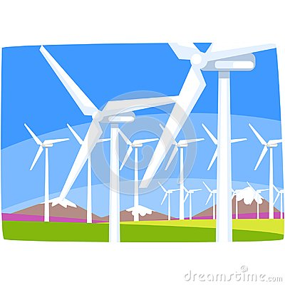 Free Wind Power Station, Ecological Energy Producing Station, Renewable Resources Horizontal Vector Illustration Stock Images - 108868654