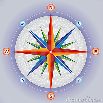 Wind Rose / Compass in Multiple Colors