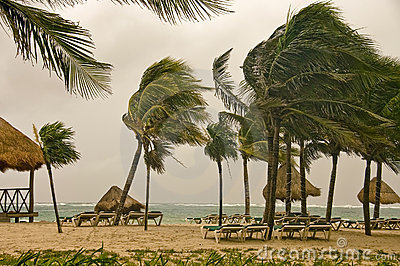 Wind storm over the Caribbean sea, Mexico