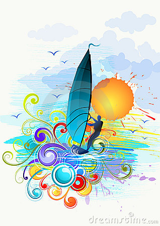 Free Wind Surfing Illustration Royalty Free Stock Images - 16003929