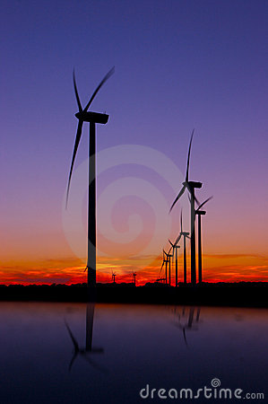 Free Wind Trubines After Sunset Stock Photography - 1894222
