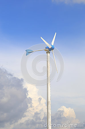 Wind turbine against partly