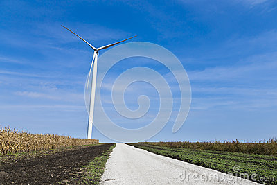 Wind turbine amongst the farms