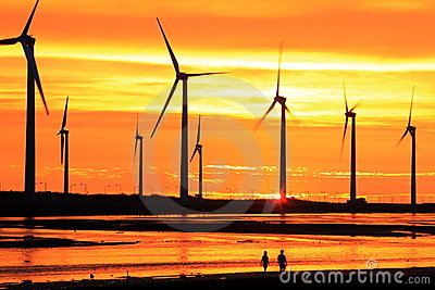 Wind turbine array silhouette under sunset