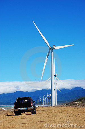 Wind turbine with a black pickup