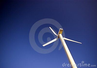 Wind turbine on blue.