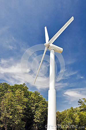 A wind turbine  with blue sky.