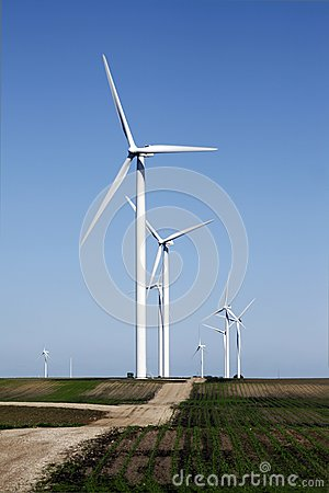 Wind turbine on dirt road