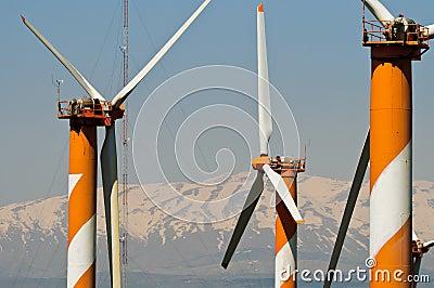 Wind turbine farm in Golan Heights