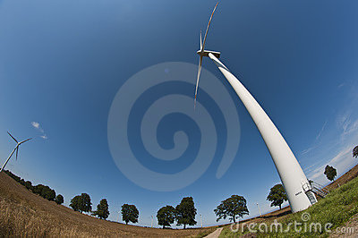 Wind turbine on fisheye