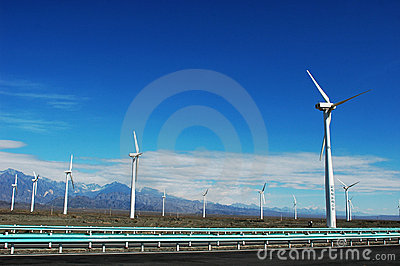 Wind turbine generators by a highway