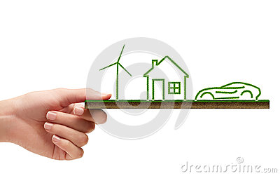 Wind turbine, house and a car concept of ecology