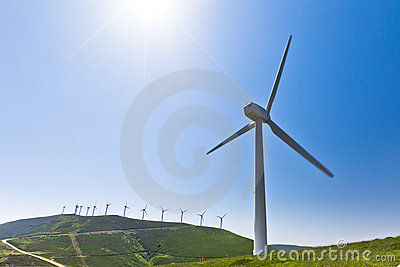 Wind turbine with more behind,
