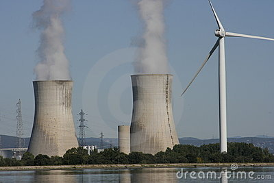 Wind Turbine & nuclear cooling tower