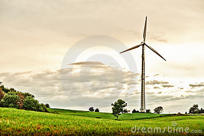 Wind Turbine in spring meadow