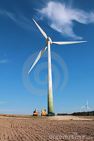 Wind turbine in the sunlight