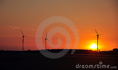 Wind turbine during sunset