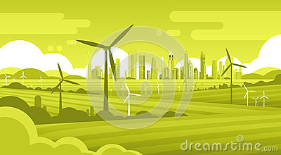 Wind Turbine Tower In Field Green City Background Ecology Alternative Energy Source Technology Vector Illustration