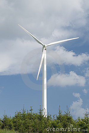 Wind turbine and trees