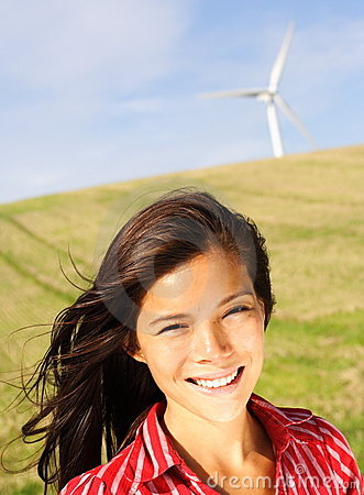 Wind turbine woman