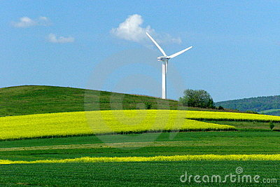 Wind turbine on a yellow-green field
