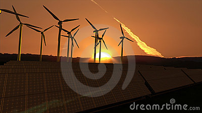 Wind turbines in activity