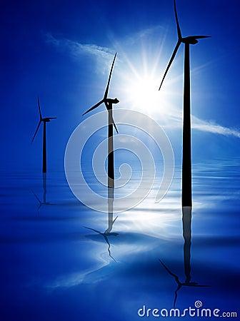 Wind turbines in blue water