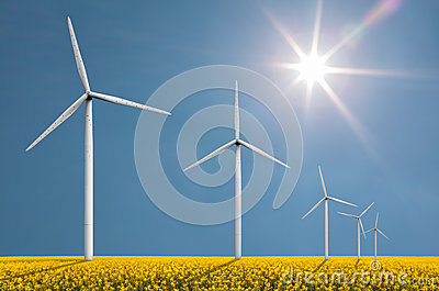 Wind turbines on a bright sunny day