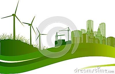Wind turbines and city illustration