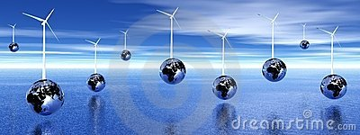 Wind turbines on earth