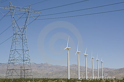 Wind Turbines and Electrical Transmission Tower