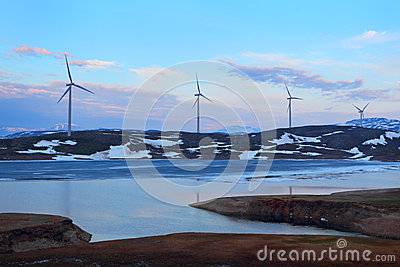 Wind turbines farm. Norway