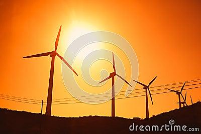 Wind turbines farm silhouettes